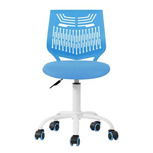 Silla de escritorio ajustable silla de estudio, silla de ordenador asiento de tela, silla de escritorio giratoria sin brazos, color azul