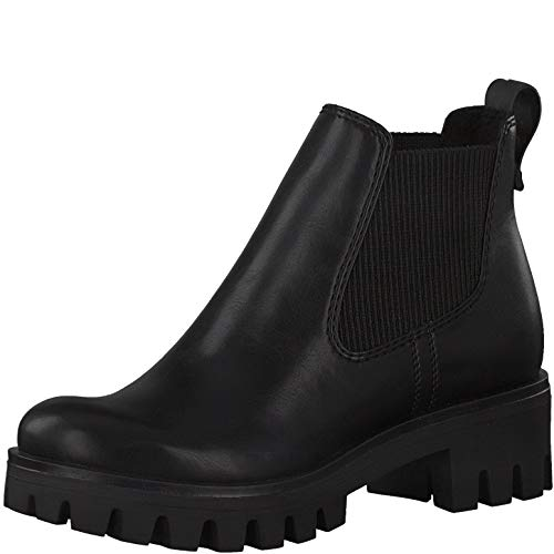 Tamaris Damen Stiefeletten, Frauen Chelsea Boots, Schlupfstiefel hoch weiblich Lady Ladies Women's Women Woman Freizeit leger,Black,39 EU / 5.5 UK