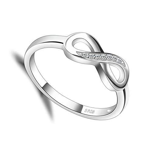 litulituhallo Forever Love - Anillo de promesa para ella chapado en oro blanco con diamante