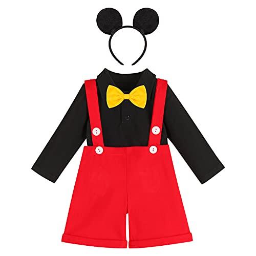 Cake Smash Outfit 1° compleanno bambino bambino neonato Topolino vestito vestito cravatta cravatta pagliaccetto bretelle pantaloncini+fascia nuziale abito foto puntelli, 4#Nero, 6-12 Mesi