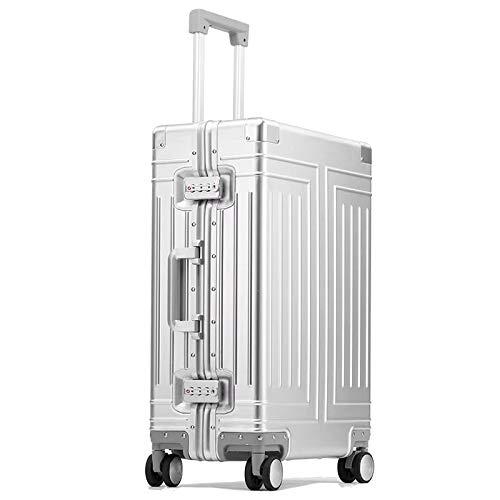 KGDUYH Maleta 20'24' 26'Pulgada de Aluminio Carretilla de Aluminio Maleta Impermeable Cabina metálica Equipaje Trolly Bolsa con Ruedas para Viajes de Negocios (Color : Silver, Luggage Size : 26')