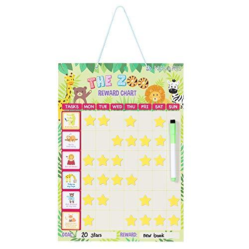 Navaris Belohnungstafel Wochenplaner Magnettafel für Kinder - magnetischer Aufgabenplaner Belohnungssystem - Kalender inkl. Magnete Stift - Englisch