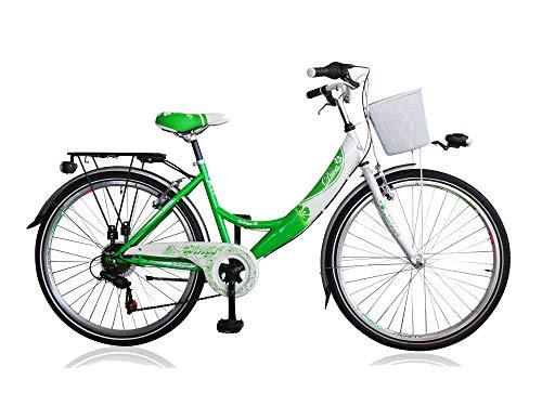 Frank Bikes 26 Zoll Cityrad Cityfahrrad Mädchenfahrrad Kinderfahrrad Citybike City Fahrrad 6 Gang Shimano Diva Grün Weiß