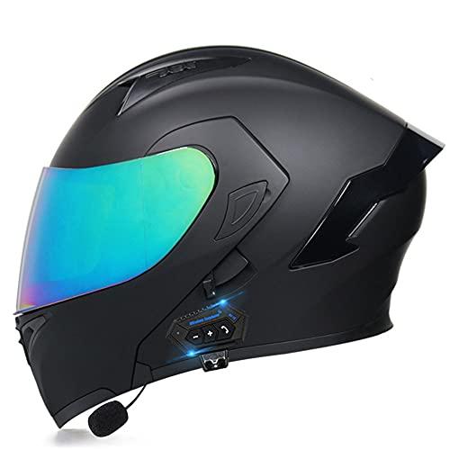 Casco de Moto Modular Bluetooth Integrado con un Micrófono Incorporado Anti Niebla Visera Doble ECE/Dot Homologado Adultos Hombres Mujeres Cascos Moto M~XXL(55~62CM)
