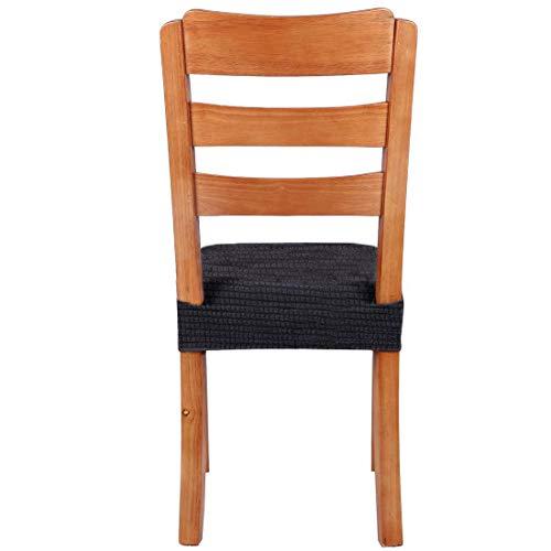 椅子カバー2枚座面カバーダイニングチェアカバー(座面用)チェアカバー伸縮性抜群座面イスカバー汚れ防止撥水伸縮布リビングイスカバーダイニング椅子カバー椅子座面オフィスフィット無地(ブラック,2枚)