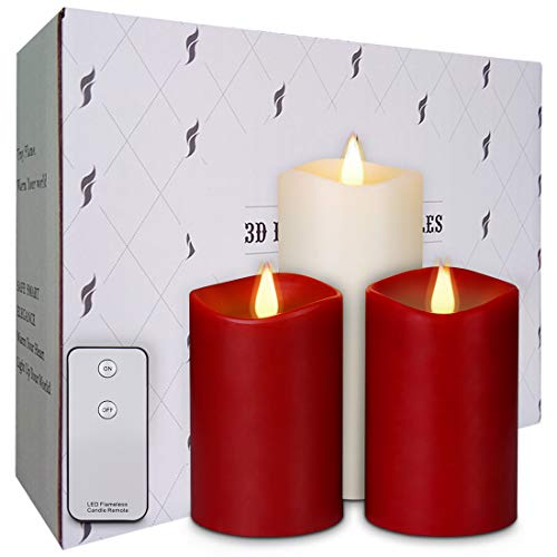 """Amazon.com: La roskey Flameless Candles Flickering Battery Operated Candles with Remote Control Rose Scented Pillar Candles Burgundy 5"""" 5"""" Ivory 7"""" Set of 3 Realistic Dancing LED Flames 3D Wick 500+ Hours: Home Improvement"""