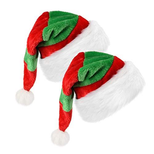Santa Hat Christmas Hats, Red & Green New Year Party Santa Hats Cap for Women, Men(2 Pack)