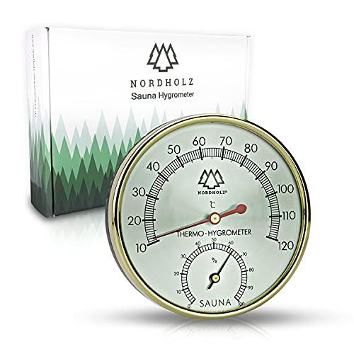 NORDHOLZ® Sauna Thermometer Hygrometer 2in1 - Zuverlässig & genau für die richtige Temperatur und Luftfeuchtigkeit - Sauna Hygrometer für eine wohltuenden Atmosphäre - Hochwertiges Sauna Zubehör