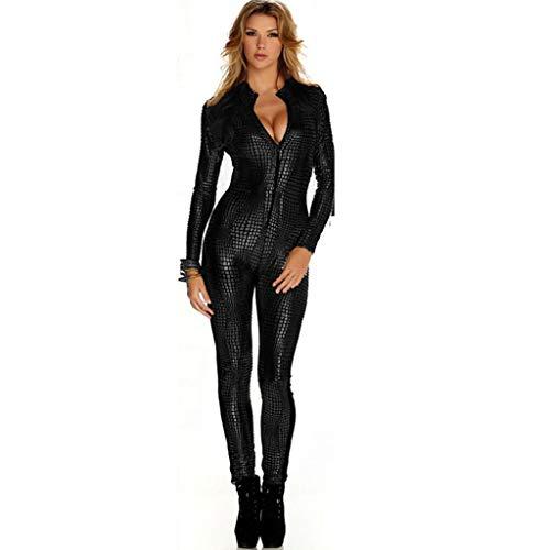 WYGH Disfraz Catsuit para Mujer Jumpsuit Piel de Serpiente Modelo Brillante Mono Patentar Cuero Apariencia mojada Traje Catwomen Partido Cosplay Carnavales Ideal para Amante Regalo,Black-XL
