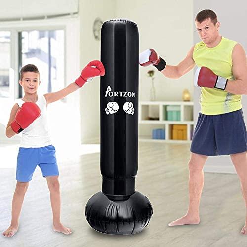 CCAN Aufblasbarer Boxsack für Erwachsene und Kinder, 160 cm freistehender Boxsack Schwerer Ninja-Boxsack für sofortiges Zurückspringen zum Üben von Karate, Taekwondo, MMA