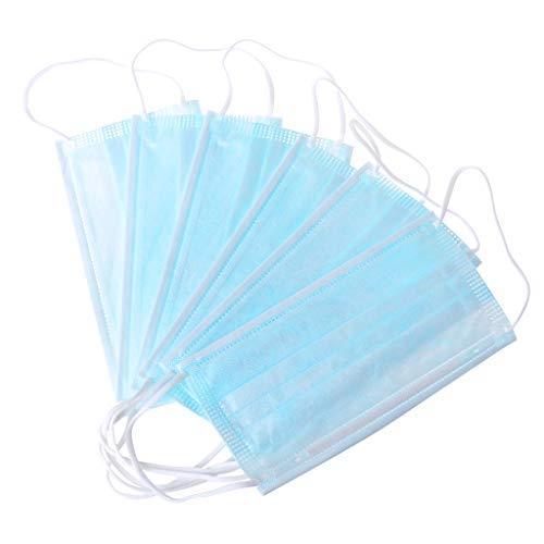 Ouniaodao Mundschutzmasken mit 3 Schichten, verhindert Tropfenübertragung, wasserdicht, winddicht, Vlies, Ohrschlaufen, 10 Stück