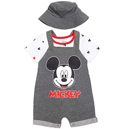 Disney Mickey Mouse Baby Boys French Terry Shortalls T-Shirt Hat Set Grey 0-3 Months