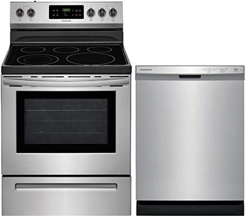 """Frigidaire 2 Piece Kitchen Appliances Package with FFEF3054TS 30"""" Electric Range and FFCD2418US 24"""" Built In Dishwasher in Stainless Steel"""