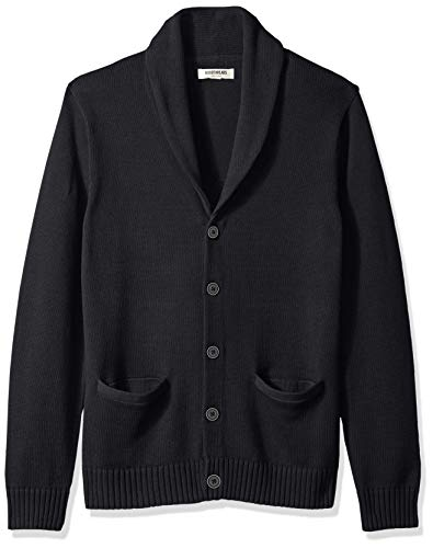 Amazon Brand - Goodthreads Men's Soft Cotton Shawl Cardigan, Solid Black, Large