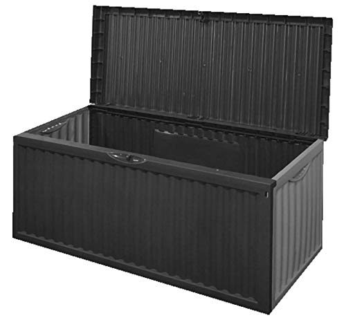 idooka 336L Large Outdoor Patio Garden Deck Plastic Storage Box Container Chest Ottoman with Wheels in Anthracite Grey - All Weather Sun, Wind, Snow, Rain - Easy Assembly, Wipe Clean, Stylish Design