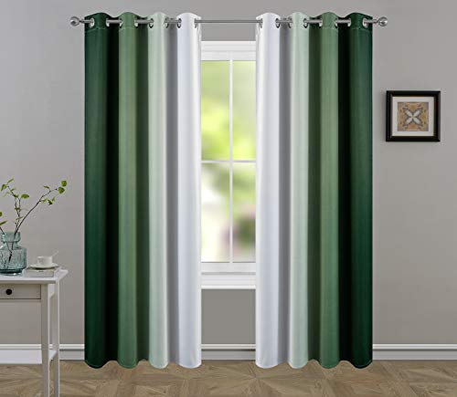 HUIFENGHECHANG HHMY Blackout/Light Blocking Curtains for Living Room/Bedroom.Gradient Color Darkening Curtains Emerald Green Luxury Drapes Treatment 2 Panels(Emerald Green to Cream White,W52×L84