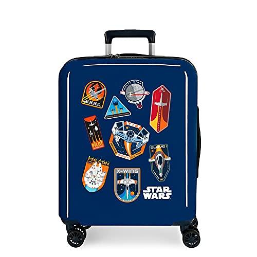 Star Wars Badges Valigia da cabina blu 40 x 55 x 20 cm rigida ABS chiusura TSA integrata 38,4 2 kg 4 ruote doppie bagaglio a mano