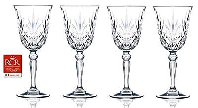 RCR Cristalleria Italiana Crystal Glass Drinkware Set (Water/Wine Goblet (9.25 oz) - 4 Piece)