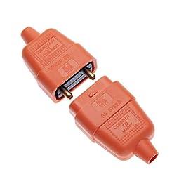 Keple Connecteur Caoutchouc 2 Broches Orange 10A AMP Adaptateur Flex Coupleur en Ligne 2 Cœurs Fiche et Prise Compatible…