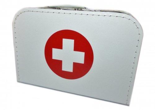 Kinderkoffer Doktor, Doktorkoffer weiß mit Kreuz Koffer Pappe