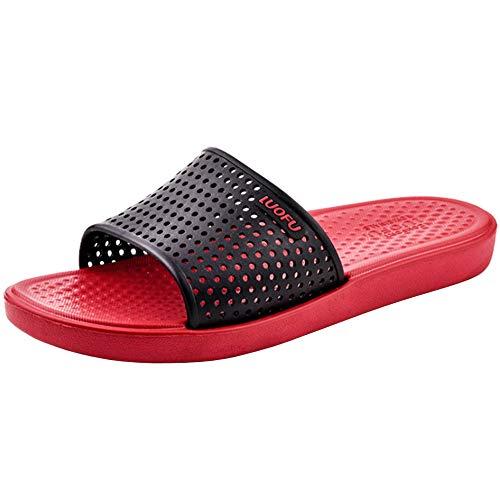 Motive Life - Zapatillas de ducha unisex para mujer y hombre, Multicolor (rojo negro), 44 EU