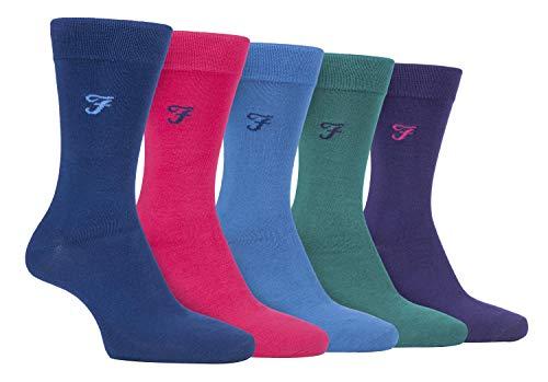 FARAH® - 5er Pack Herren Bambus Socken | Uni Bunt & Gestreift Socken (helle 2, 39-45)