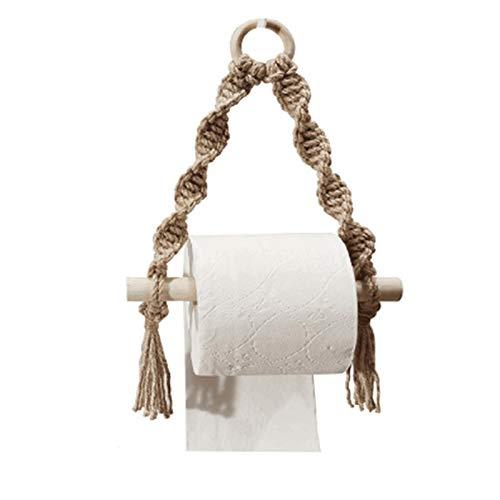 SMLSMGS Macrame Papel higiénico, soportes de toalla de punto de madera soportes de toalla de papel para soporte de papel de cocina Decoración de baño Cuerda de honda, para dormitorio cocina baño bebé