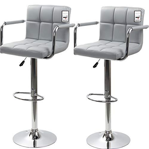 display4top Taburetes de Bar, con Estructura cromada, sillas giratorias de 360 Grados, Acolchadas Blandas, Juego de 2 (Gris/reposabrazos)
