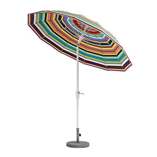Weishäupl Pagoden Sonnenschirm mit Knickmechanismus Ø240cm, Multicolor Acryltuch Stamm Ø3,8cm H 239cm ohne Schirmständer Stamm und Streben Aluminium weiß