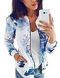 Women Lightweight Jacket Retro Floral Bomber Jacket Zip...