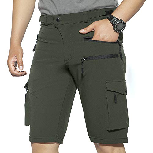 Hiauspor Mens Hiking Shorts Casual Cargo Shorts Quick Dry Tactical Shorts with Zipper Pockets