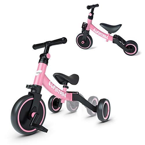 Besrey 三輪車 自転車 バランスバイク ペダルなし自転車 5 in 1キックバイク 1-5歳子供用 変身バイク T型ハンドル 持ち運びやすい 空気入れ不要 調整可 折りたたみ (桃色)