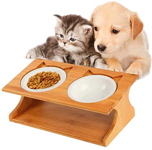 LEYUANEN ペット食器 スタンド 食器台 陶器 セラミック ステンレス鋼 ボウル 食台 フード ごはん皿 水 ボウル 斜め 食べやすい 負担軽減 取り外し可能 自然木製 犬 猫 兼用
