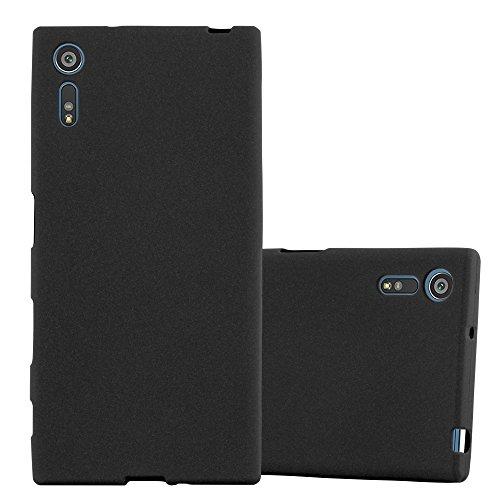 Cadorabo Funda para Sony Xperia XZ/XZs en Frost Negro - Cubierta Proteccíon de Silicona TPU Delgada e Flexible con Antichoque - Gel Case Cover Carcasa Ligera