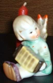 Joyful News Angel playing an Accordian Hummel Figurine with Candle Holder