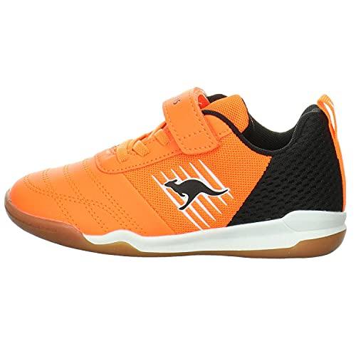 KangaROOS Unisex-Kinder Super Court EV Sneaker, Neon Orange/Jet Black 7950, 36 EU