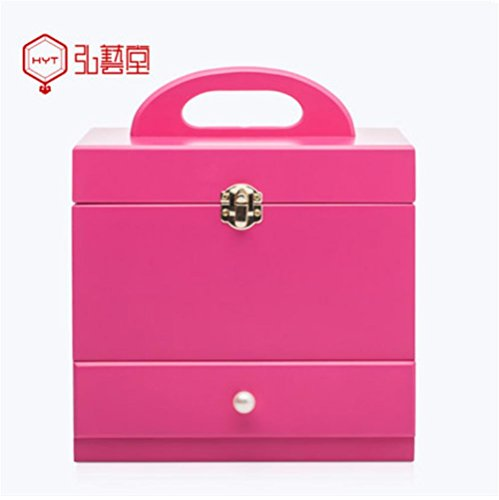 MEYLEE Boîte de Bijoux en Bois cosmétiques Cas Apporter Miroir européen Portable Grand Rangement (Rose Rouge)