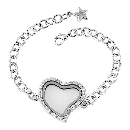 small LovelyJewelry Heart LoveLiving Floating Charm Memory Medallion Chain Star or Core Synthetic…