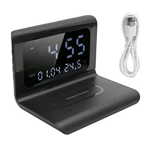 Aoca Estación de Carga inalámbrica del teléfono, Base Plegable del Cargador del teléfono 10W con la exhibición del Tiempo para el teléfono móvil para el teléfono Inteligente(Black)