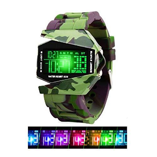 Jungen/Mädchen Digitale Sportuhr, 50 m wasserdicht, Camouflage, Militär-Armbanduhr mit Silikon-Band, leuchtende Wecker, Stoppuhr, LED-Armbanduhr Geschenk für Kleinkinder Kinder