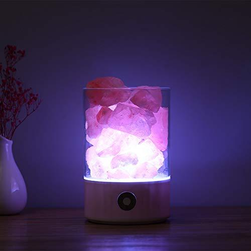 Lámpara de Sal del Himalaya Natural Pequeño Mineral Cristal Natural Lámpara de Mesita de Noche Ajustable de Brillo Multicolor para Dormitorio Oficina Exterior Camping Lámpara de Yoga