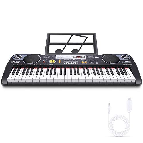 Teclado de Piano Teclado Musical Digital Teclado Electrónico portátil con 61 teclas, Soporte de Música, Fuente de Alimentación y Altavoces Incorporados para Principiantes