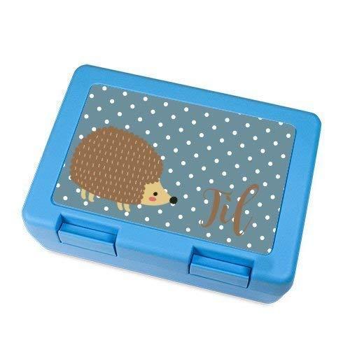 Brotdose Igel, personalisiert mit dem Namen, Geschenkidee für Kinder, Blaue Lunchbox mit Mtiv Igel, persönliche Geschenkidee für Jungen