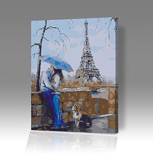 DIY Digitale Olieverfschilderij Kleurplaten Knuffel Paar Olieverfschilderij Cartoon Landschap Bloem 6902 Frameloze 40x50cm