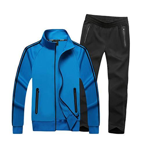 Men's Athletic Tracksuit Set Full Zip Casual Sports Jogging Gym Sweat Suits Blue