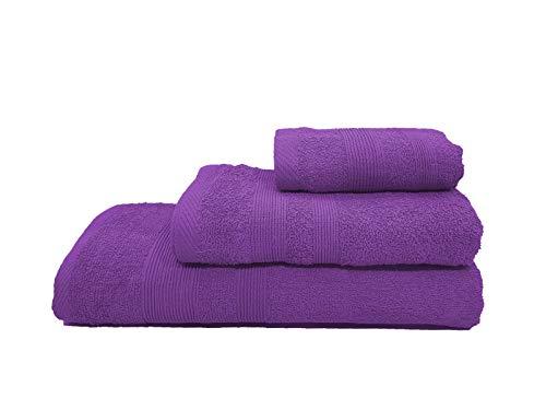 Confort Home M.T (Morado Bolas) Juego de Toallas de baño 3 Piezas (1 Toalla de baño, 1 Toallas de Manos y 1 Toalla Cara) 100% algodón, Toallas Ligeras y absorbentes. (Morado)