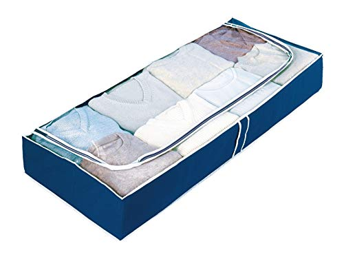 WENKO Unterbettkommode Air, Aufbewahrungstasche für Textilien, mit Sichtfenster und 3-Seiten-Reißverschluss, schützt vor Motten, Staub &Schmutz, atmungsaktives Vlies-Material, 105 x 15 x 45 cm, Navy