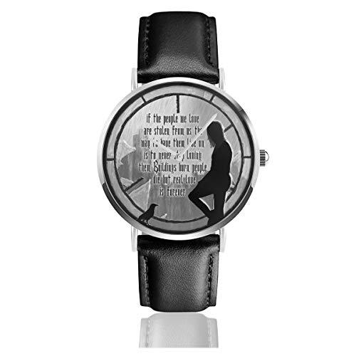 Unisex Business Casual The Crow Window Zitat Uhr Quarz Leder Uhr mit schwarzem Lederband für Männer Frauen Young Collection Geschenk