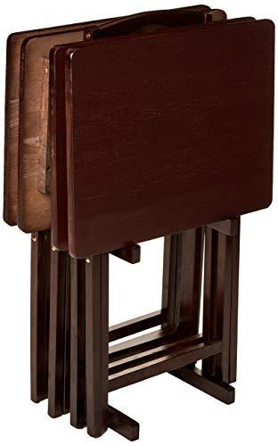 PJ Wood 5-piece Folding TV Tray & Snack Table - Espresso Finish Rubberwood