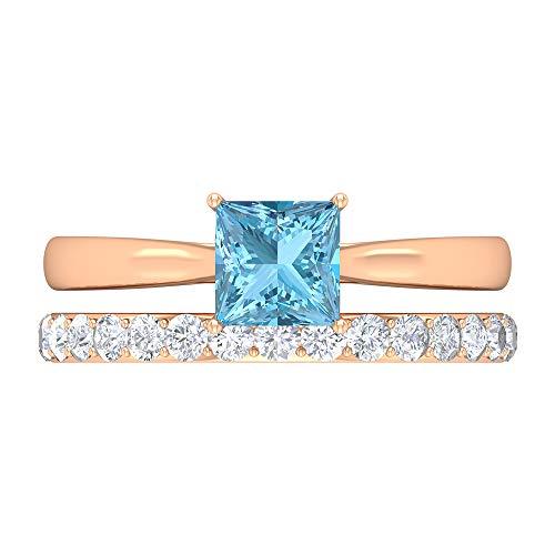 Rosec Jewels 14 quilates oro rosa talla princesa Round Brilliant Blue Moissanite Aquamarine